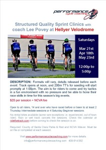 PCC Saturday Sprint Clinics Flier